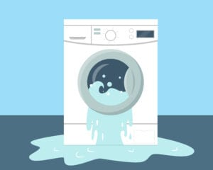 illustration of washing machine leaking onto floor