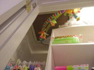 Attic access hatch in closet